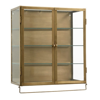 Nordal Wall cabinet,2 doors, golden metal/glass