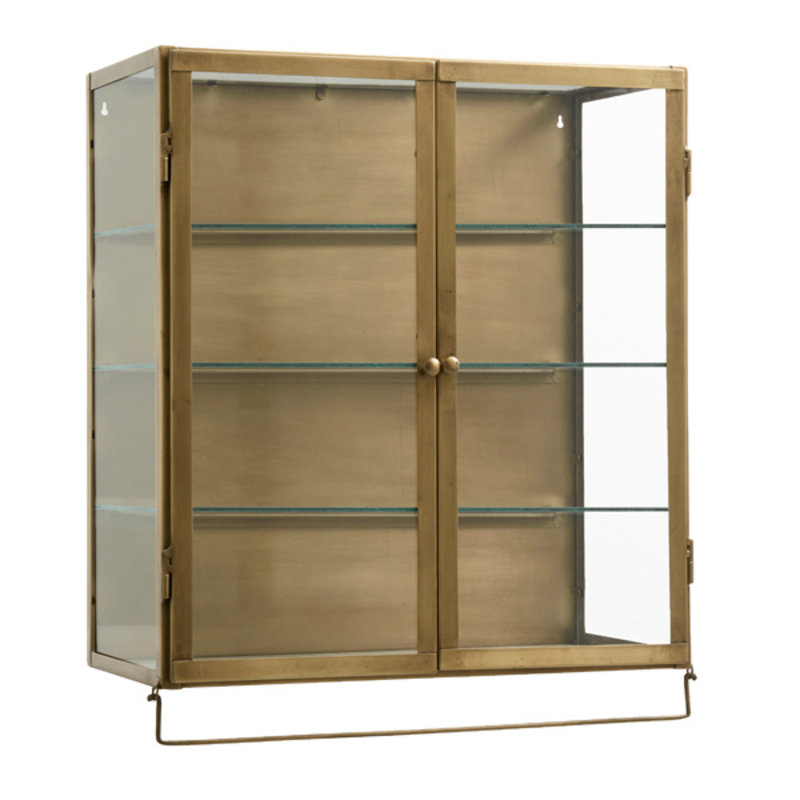 Nordal-collectie Wall cabinet,2 doors, golden metal/glass