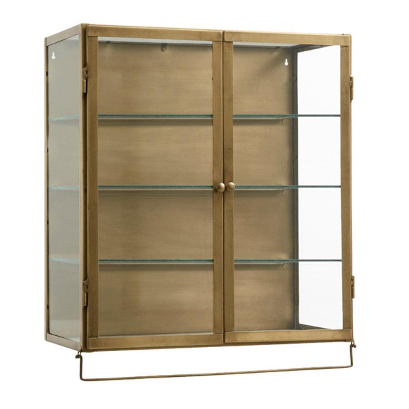 Nordal-collectie Wand vitrinekast  goud - 2 deurtjes