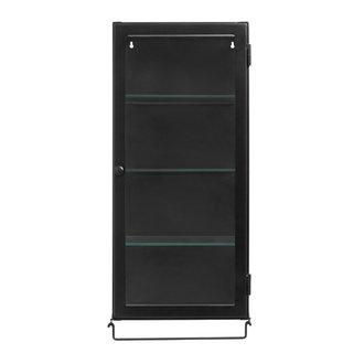 Nordal Wall cabinet, 1 door, black metal/glass
