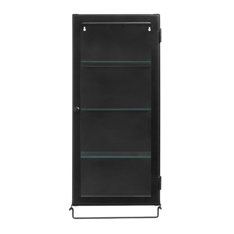 Nordal-collectie Wall cabinet, 1 door, black metal/glass