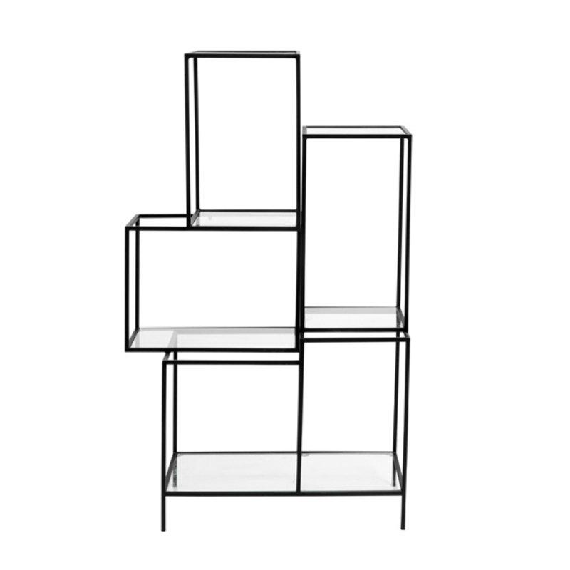 Nordal-collectie Display rek zwart metaal - glazen planken