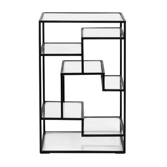 Nordal Display with glass shelves, metal, black