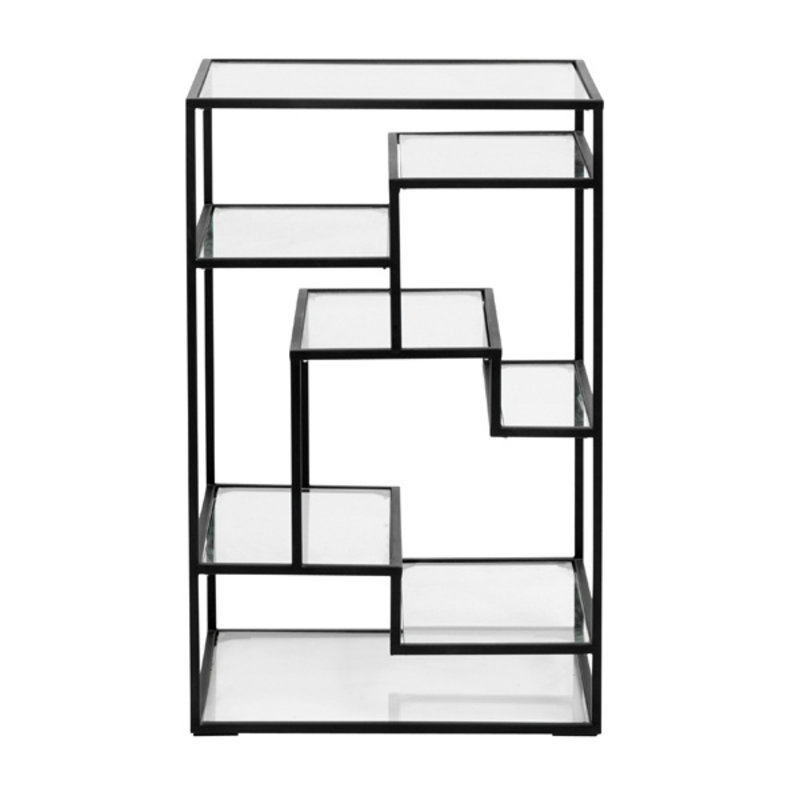 Nordal-collectie Display with glass shelves, metal, black