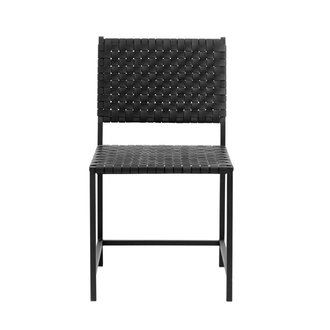 Nordal Chair w/black leather weaving, metal
