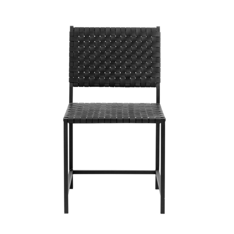 Nordal-collectie Chair w/black leather weaving, metal