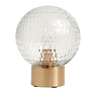 Nordal Table lamp, brass base w/clear cut glass