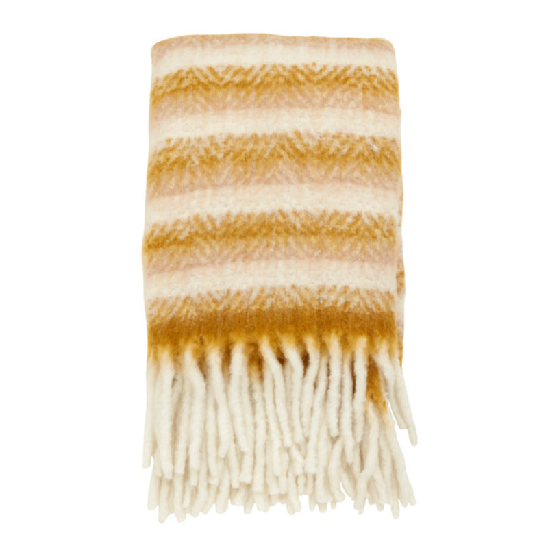 Nordal-collectie Blanket, mustard/off white, mohair look