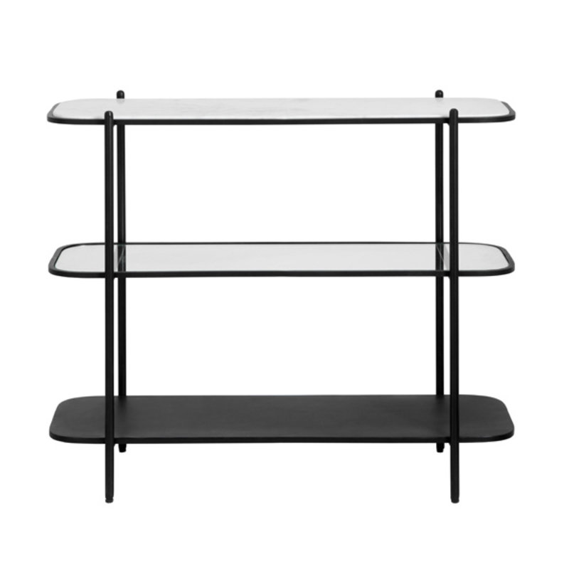 Nordal-collectie Console table, white marble/glass/black
