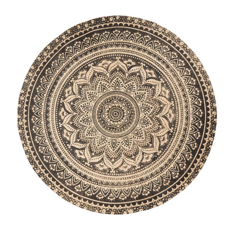 Nordal-collectie Vloerkleed jute rond met zwarte print