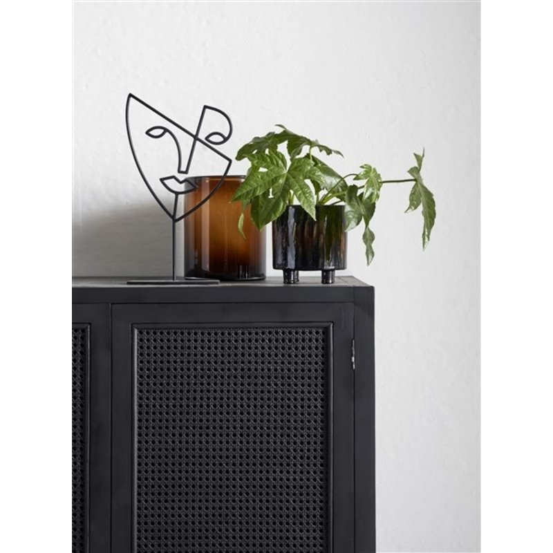 Nordal-collectie Buffet, teak, black, open mesh weaving