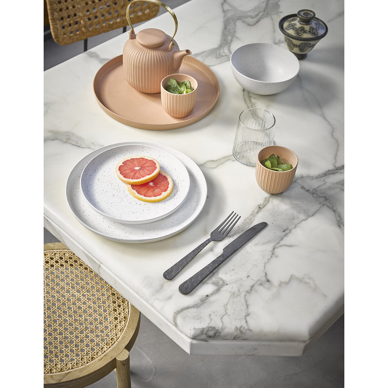 HK living-collectie bold & basic keramiek servies speckled dinerbord wit