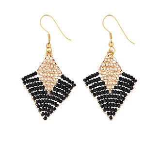 Madam Stoltz Beaded earrings  black - gold