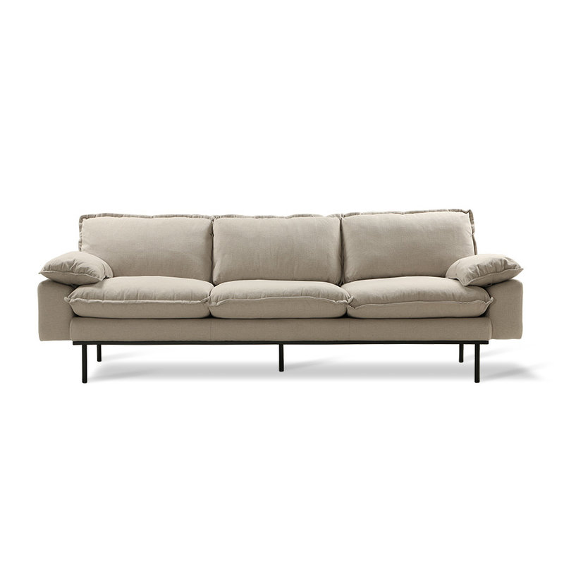 HK living-collectie Retro sofa 4-zits bank  cosy beige