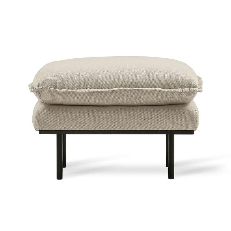 HK living-collectie retro sofa hocker, cosy, beige