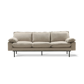 HK living Retro sofa 3-zits bank  cosy beige