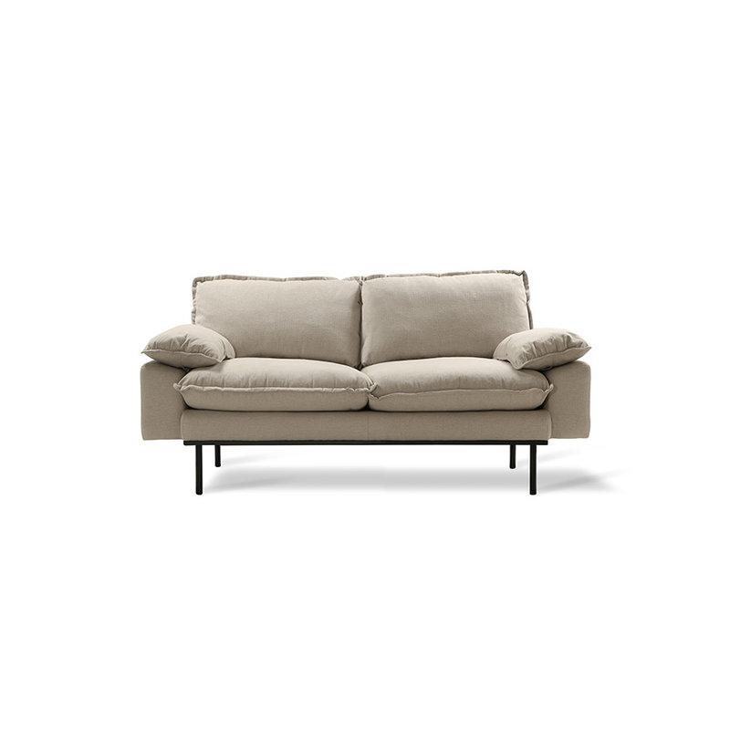 HK living-collectie Retro sofa 2-zits bank  cosy beige