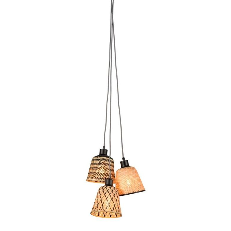 Good&Mojo-collectie Hanging lamp Kalimantan/3-shade bamboe,  black/natural