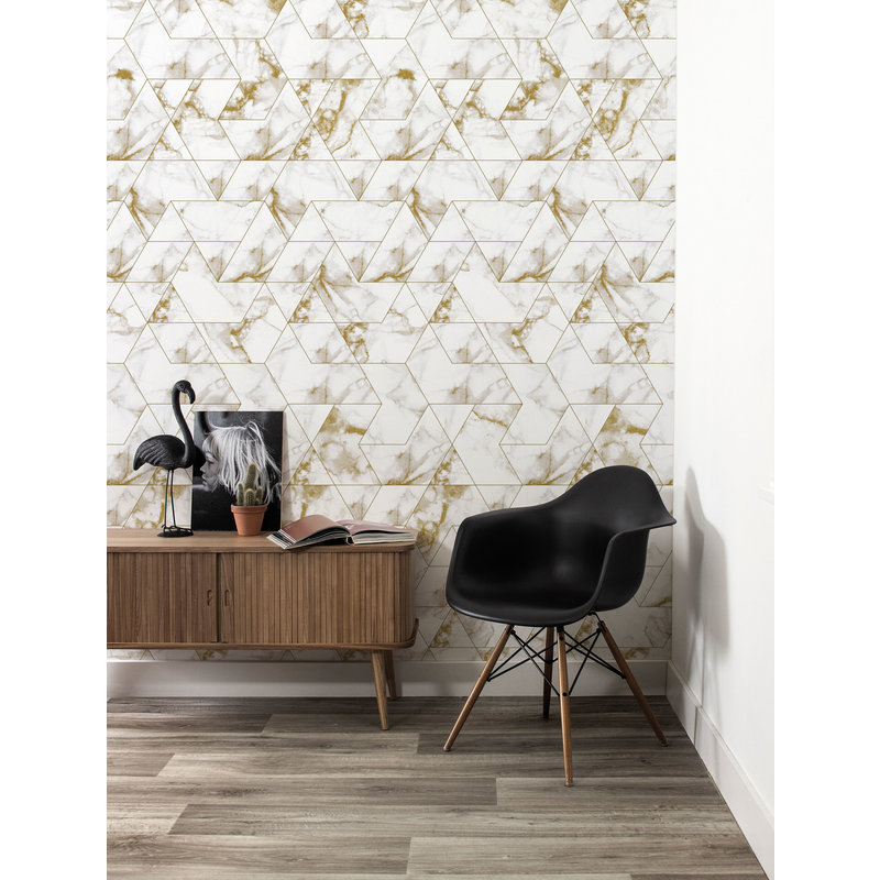 KEK Amsterdam-collectie Wallpaper Marble Mosaic, gold