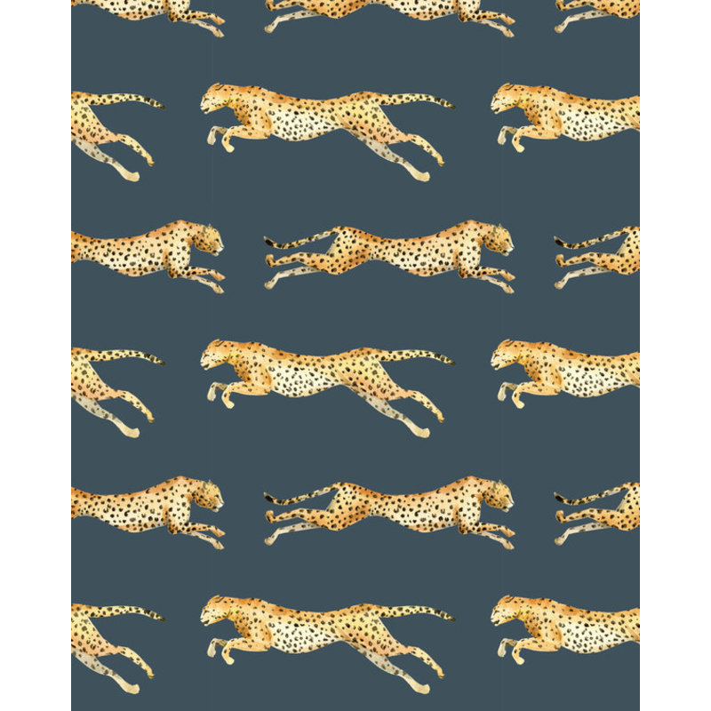 Creative Lab Amsterdam-collectie Leopard Grey Blue Wallpaper on roll