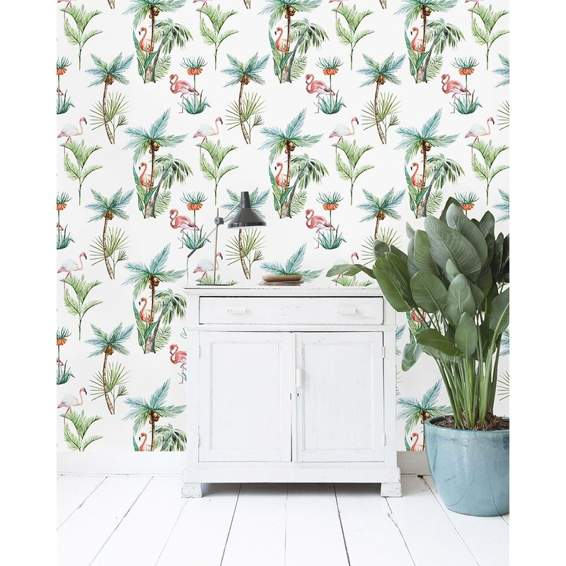 Creative Lab Amsterdam-collectie Flamingo Palm Wallpaper on roll
