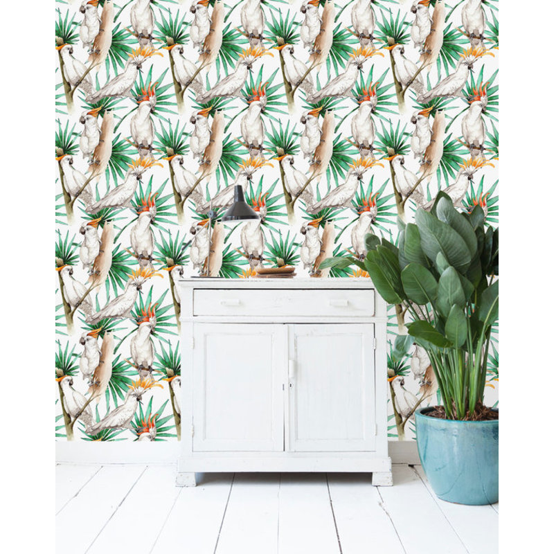 Creative Lab Amsterdam-collectie White Parrot Wallpaper on roll
