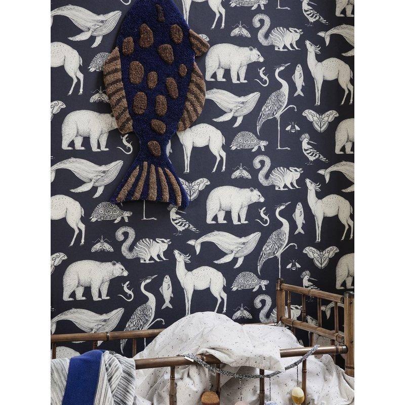 ferm LIVING-collectie Katie Scott behang  Animal Blue