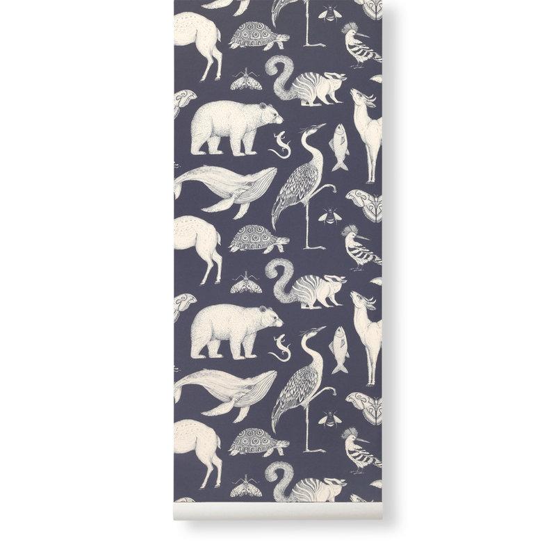 ferm LIVING-collectie Katie Scott Wallpaper - Animals - Blue