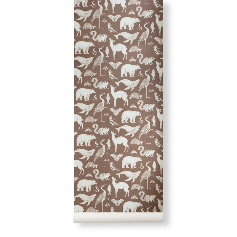 ferm LIVING-collectie Katie Scott Wallpaper - Animals - toffee