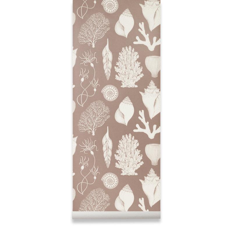 ferm LIVING-collectie Katie Scott behang  Shells dusty rose