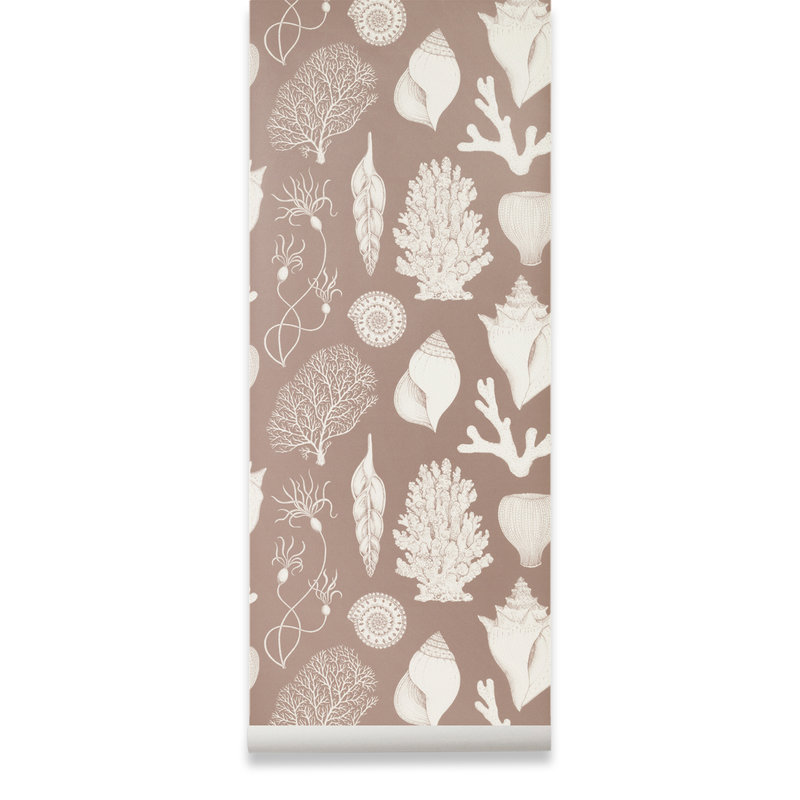 ferm LIVING-collectie Katie Scott Wallpaper - Shells - dusty rose