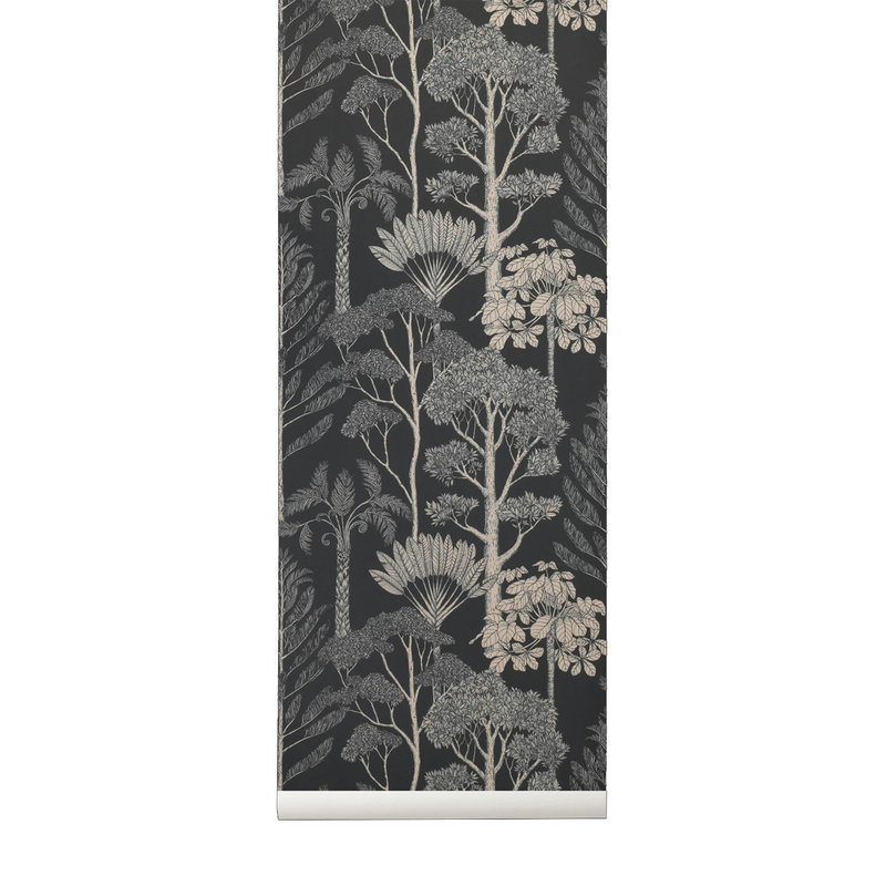 ferm LIVING-collectie Katie Scott Wallpaper - Trees - petrol