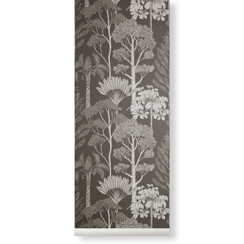 ferm LIVING-collectie Katie Scott Wallpaper Trees grey