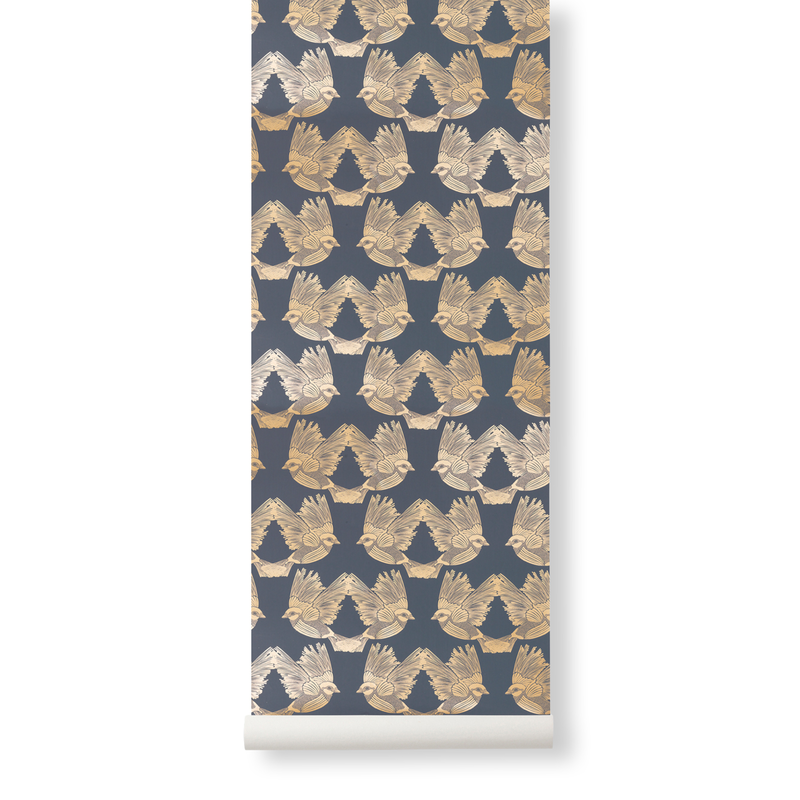 ferm LIVING-collectie Birds Wallpaper Deep Blue  Gold
