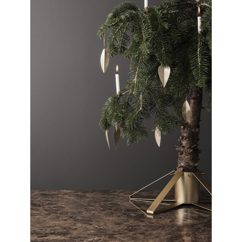 ferm LIVING-collectie Leaf Brass Ornaments - Set of 4