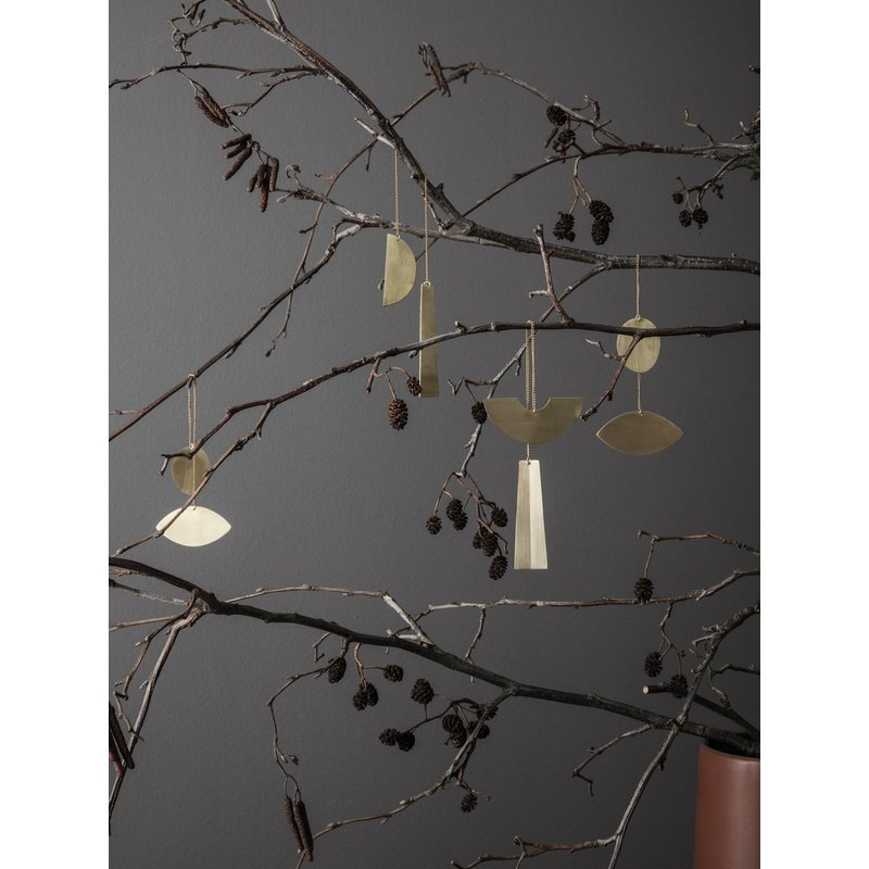 ferm LIVING-collectie Twin half circle Brass Ornaments