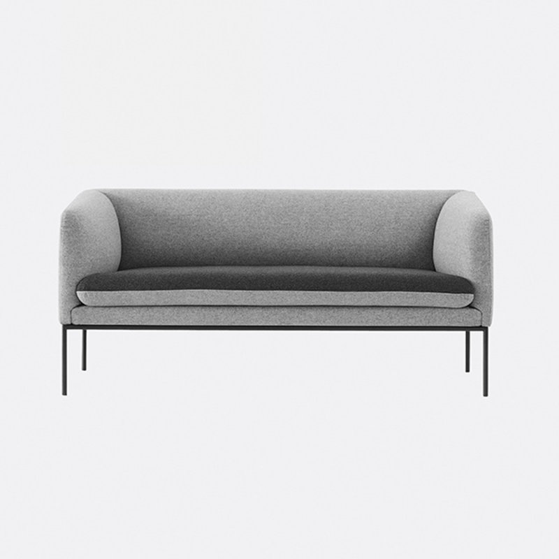 ferm LIVING-collectie Turn Sofa 2 - Wool - L Grey/D Grey MTS