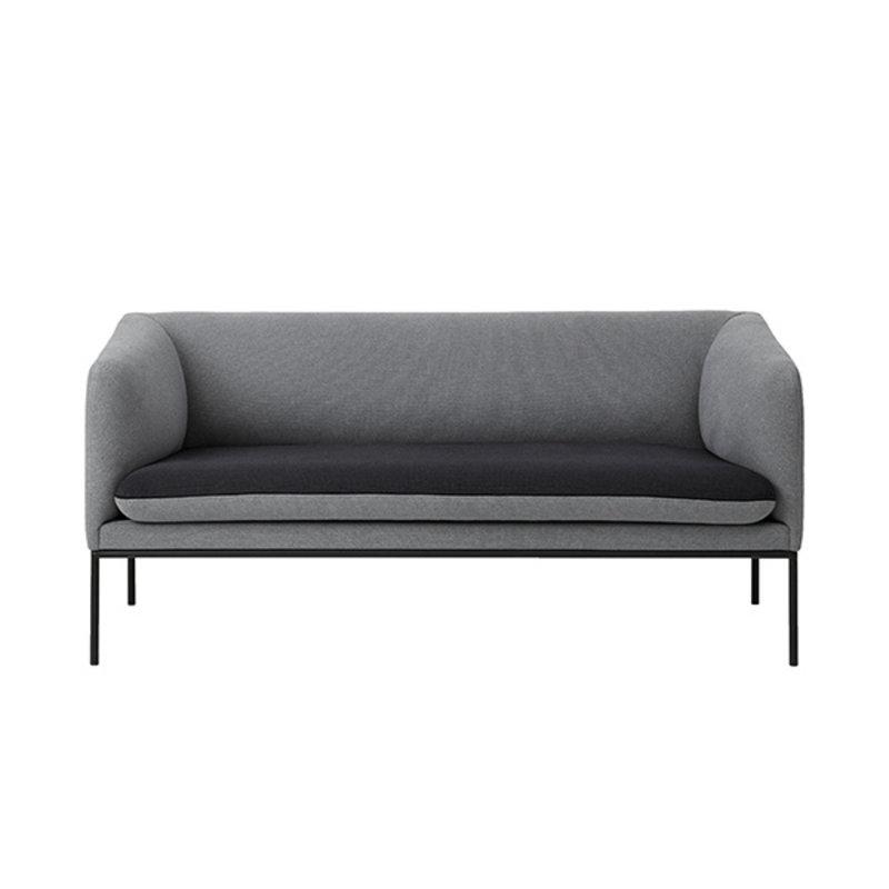 ferm LIVING-collectie Turn sofa 2 zits katoen - lichtgrijs- donkergrijs