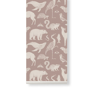 ferm LIVING Katie Scott Wallpaper - Animals - Dusty rose