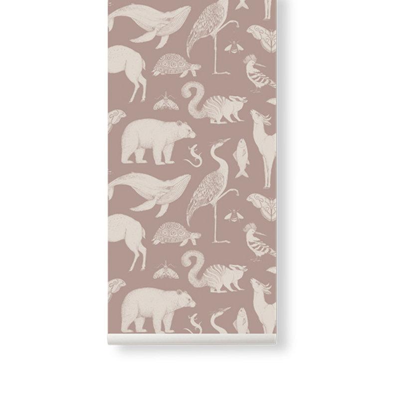 ferm LIVING-collectie Katie Scott behang  Animal dusty roze