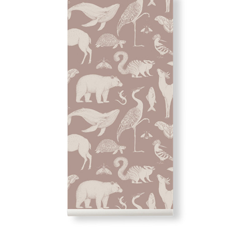 ferm LIVING-collectie Katie Scott Wallpaper - Animals - Dusty rose