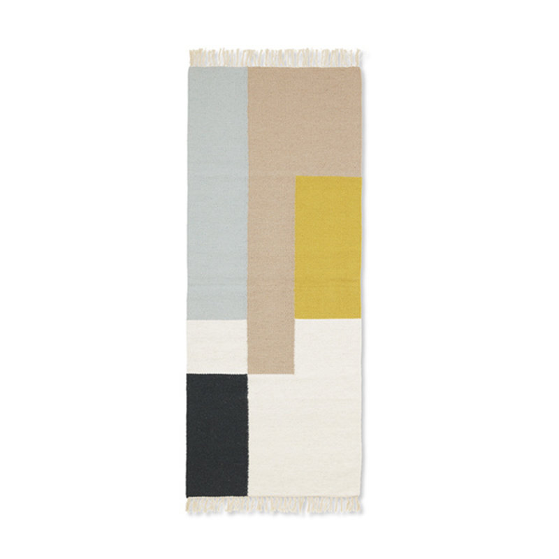 ferm LIVING-collectie Kelim Runner - Squares - 180x70 - Multi