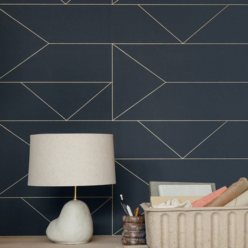 ferm LIVING-collectie Lines Wallpaper - Graphite