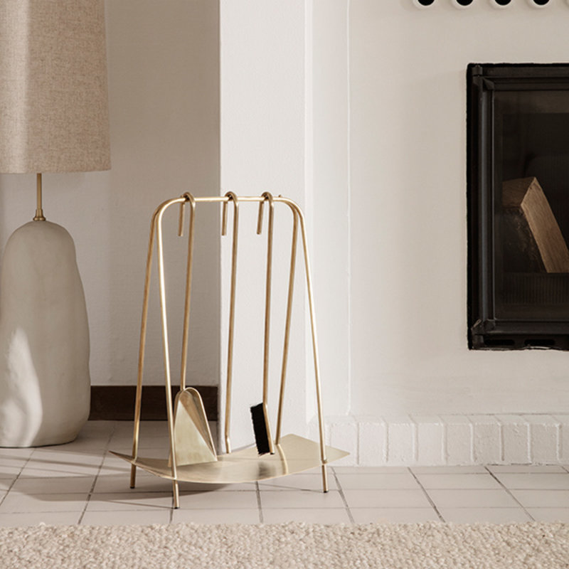 ferm LIVING-collectie Port Fireplace Tools - Brass