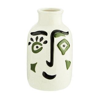 Madam Stoltz Keramiek vaas met gezicht print zwart-groen