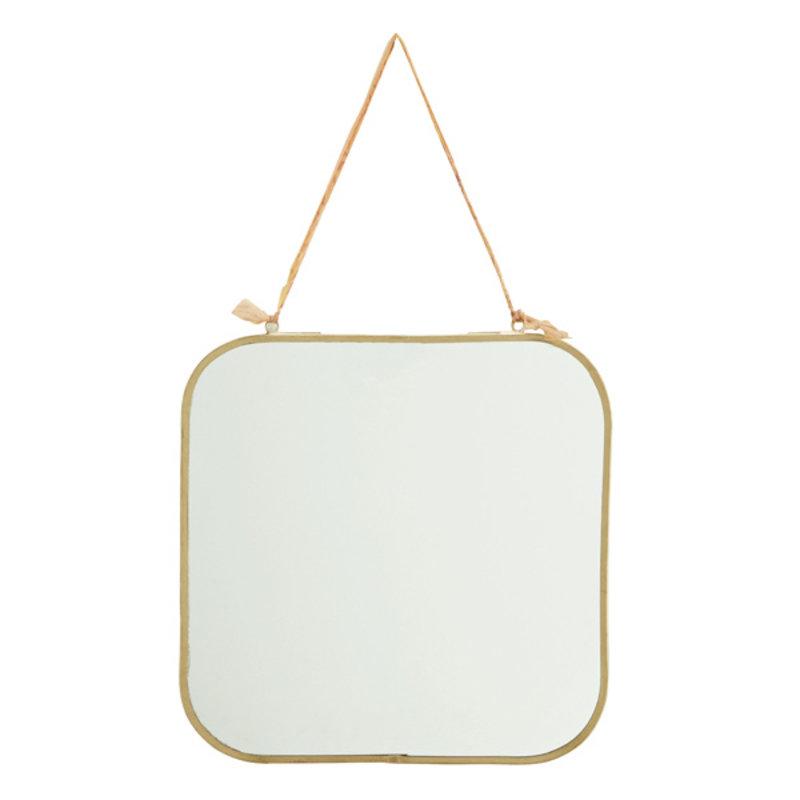 Madam Stoltz-collectie Spiegel brass met katoen ophangkoord 25 cm