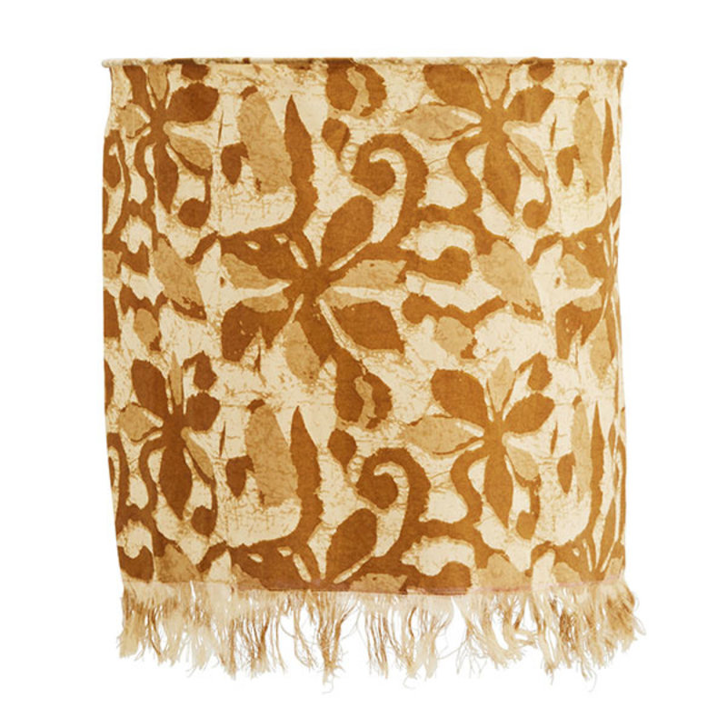 Madam Stoltz-collectie Printed cotton lamp shade w/ fringes