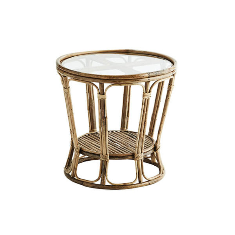 Madam Stoltz-collectie Bamboo coffee table w/ glass top