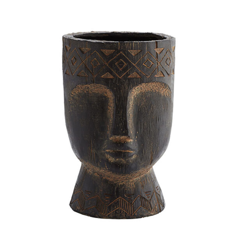 Madam Stoltz-collectie Fibre clay flower pot w/ face imprint