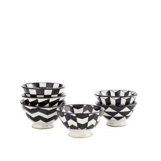 Madam Stoltz Aardewerk bakjes met 6 verschillende designs zwart-wit